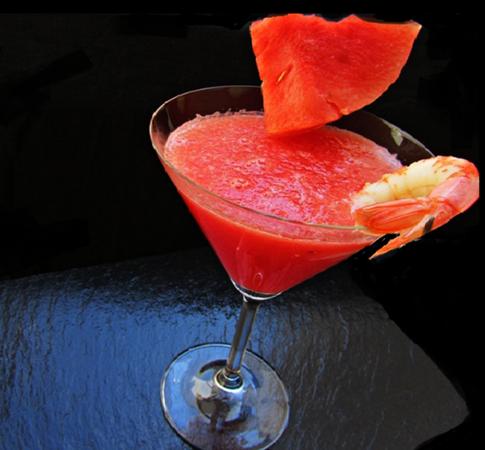 Bebidas saludables zumo de sandía y naranja